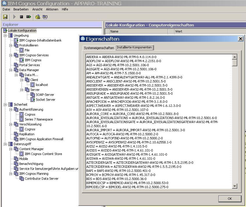 Übersicht der installierten Komponenten von IBM Cognos abrufen.