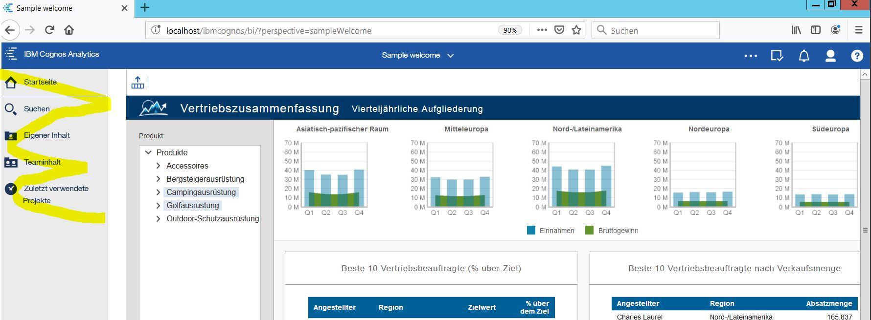 """Reports als Startseite mit """"normaler"""" Navigationsleiste anzeigen (Cognos Analytics Extension)"""